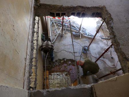 Vue du 3ème étage - Emplacement de l'ascenceur