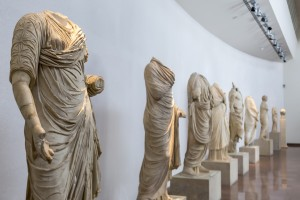 Ancient exhibits of the Philippeion at Olympia, Greece. The Archaeological Museum of Olympia, the most important of Greece.